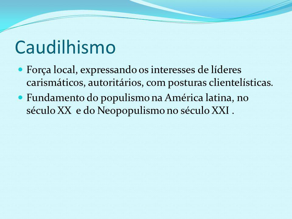 Caudilhismo Força local, expressando os interesses de líderes carismáticos, autoritários, com posturas clientelísticas.