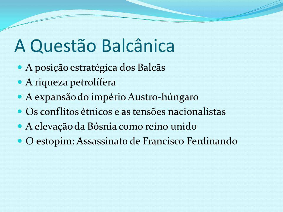 A Questão Balcânica A posição estratégica dos Balcãs