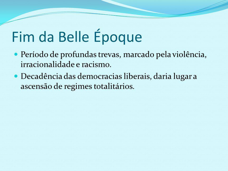 Fim da Belle Époque Período de profundas trevas, marcado pela violência, irracionalidade e racismo.