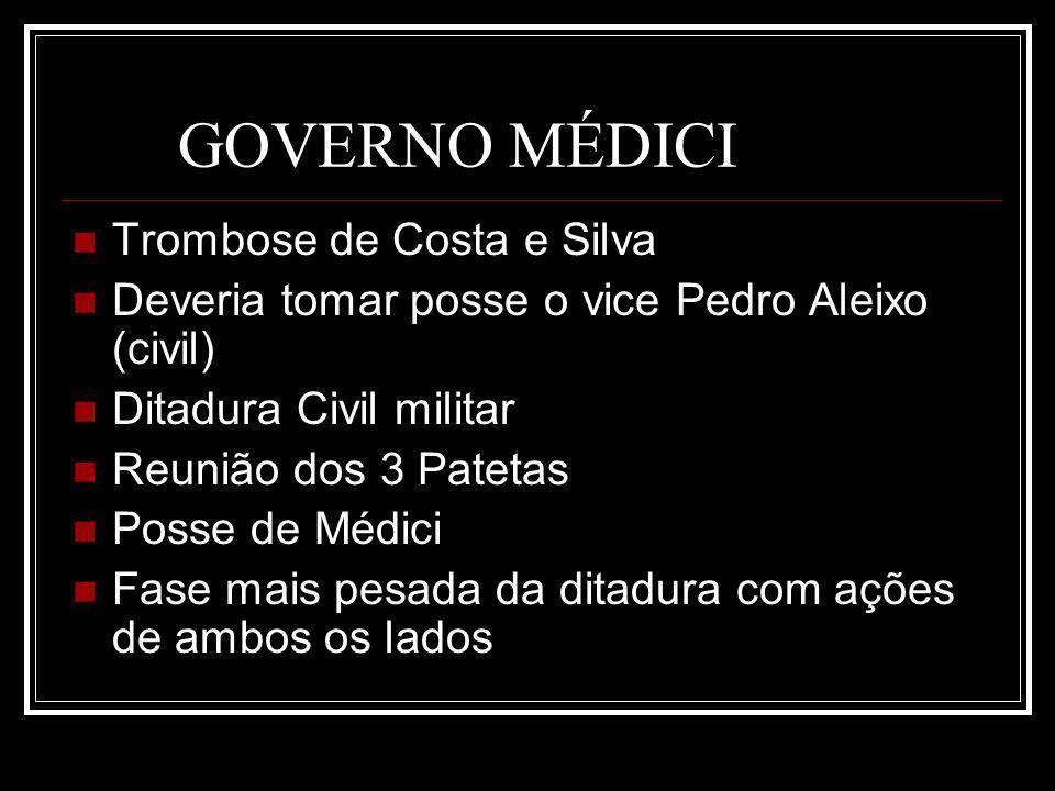 GOVERNO MÉDICI Trombose de Costa e Silva