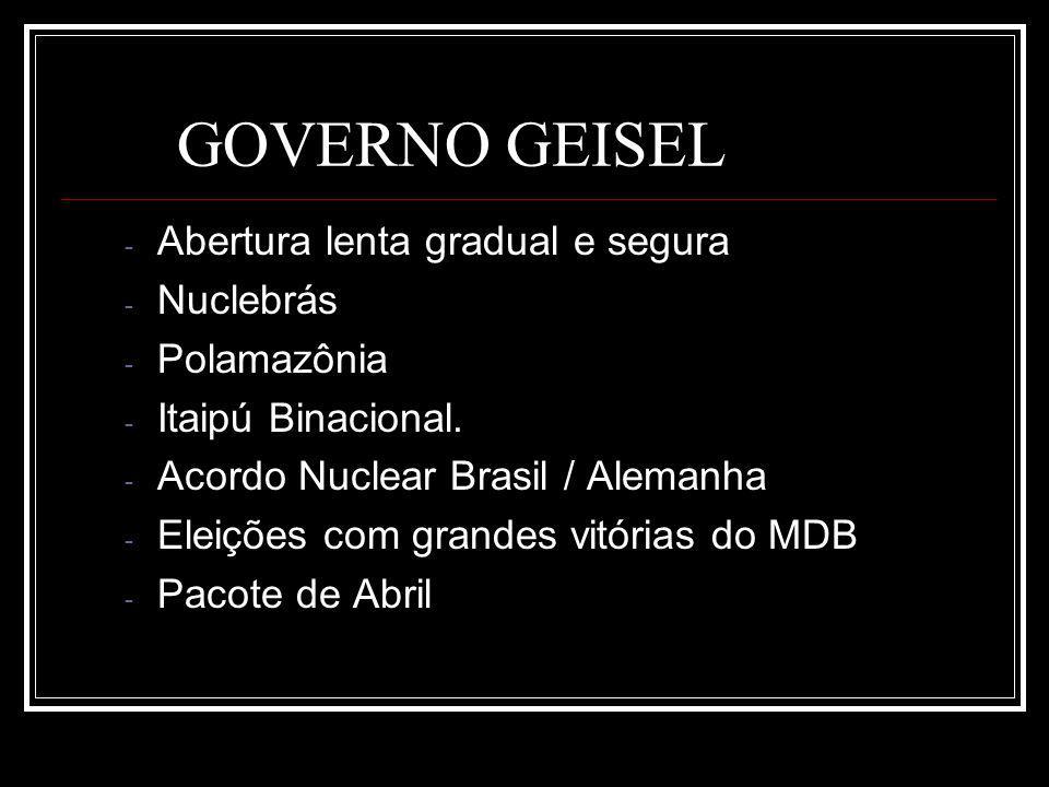GOVERNO GEISEL Abertura lenta gradual e segura Nuclebrás Polamazônia