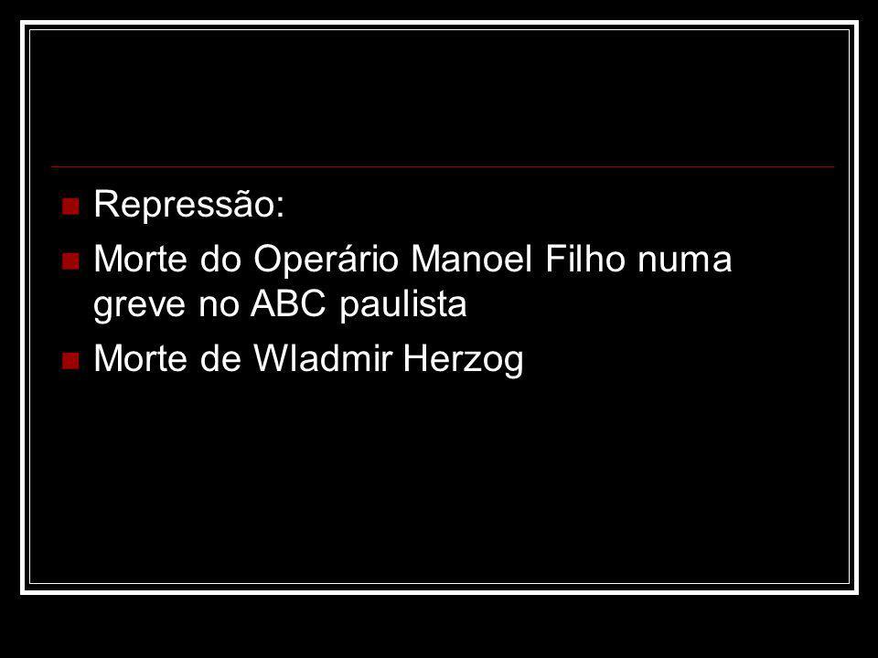 Repressão: Morte do Operário Manoel Filho numa greve no ABC paulista Morte de Wladmir Herzog
