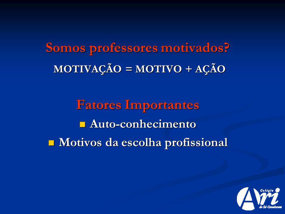 Somos professores motivados MOTIVAÇÃO = MOTIVO + AÇÃO