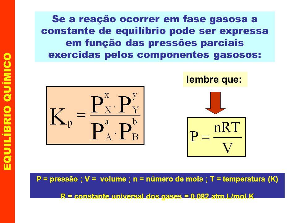 Se a reação ocorrer em fase gasosa a constante de equilíbrio pode ser expressa em função das pressões parciais exercidas pelos componentes gasosos: