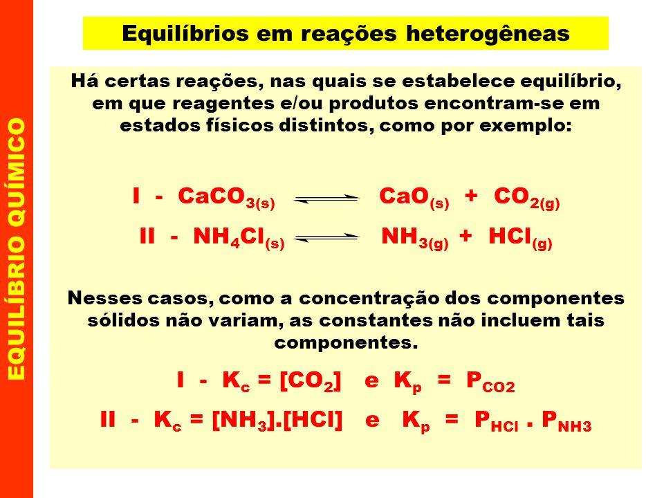 Equilíbrios em reações heterogêneas