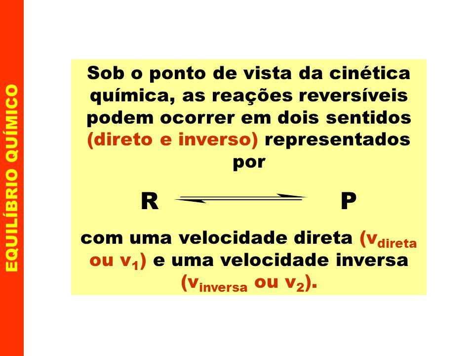 Sob o ponto de vista da cinética química, as reações reversíveis podem ocorrer em dois sentidos (direto e inverso) representados por