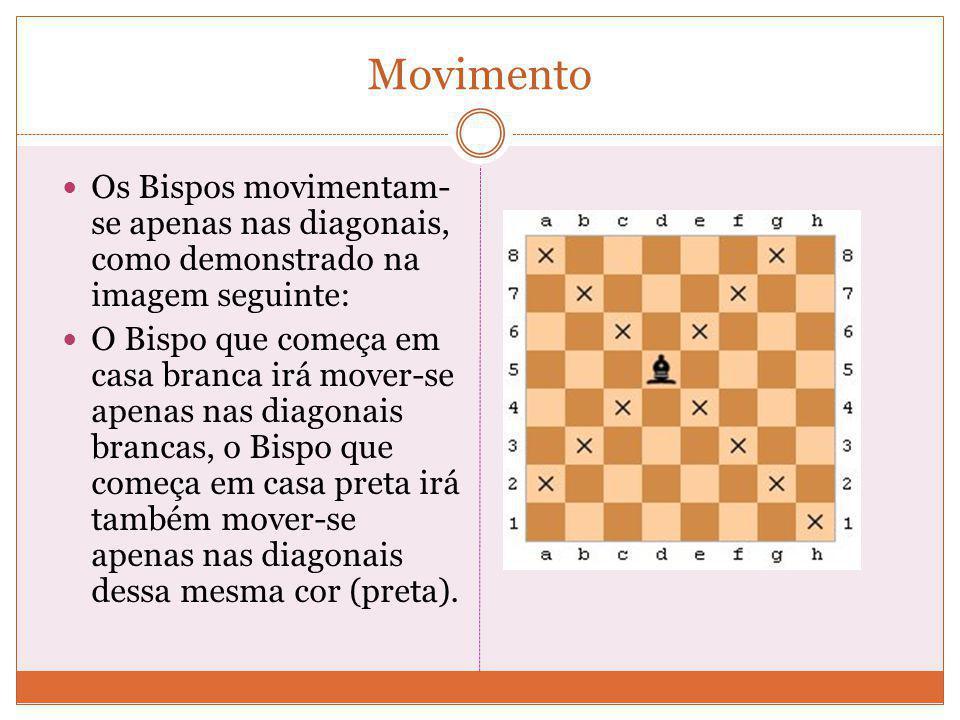 Movimento Os Bispos movimentam-se apenas nas diagonais, como demonstrado na imagem seguinte: