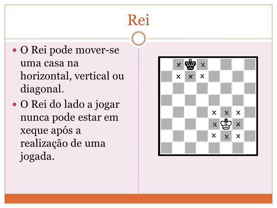 Rei O Rei pode mover-se uma casa na horizontal, vertical ou diagonal.