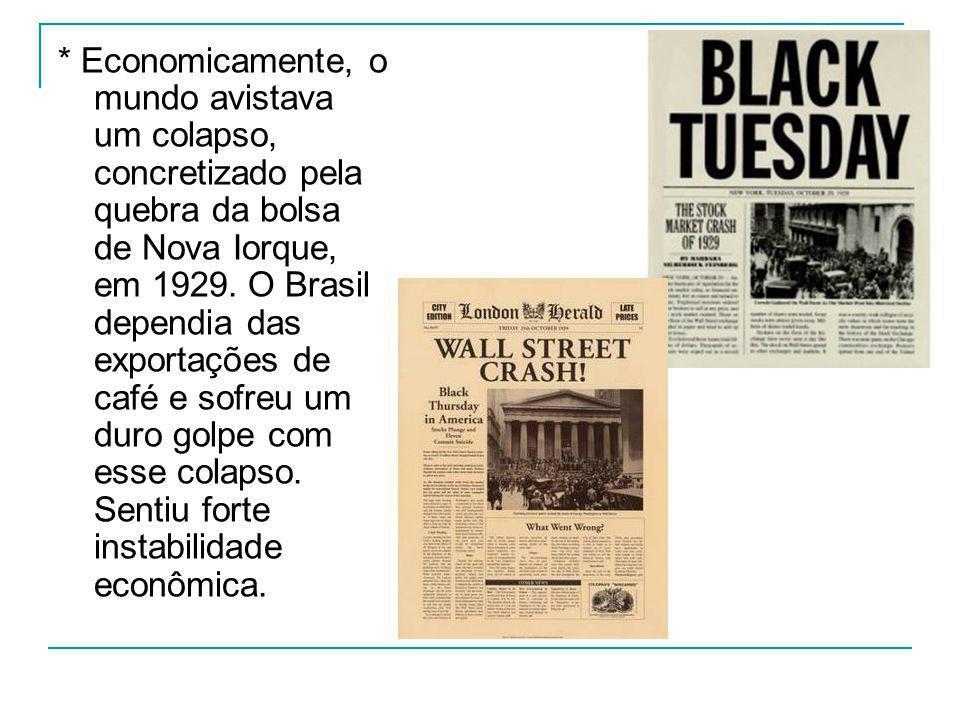 * Economicamente, o mundo avistava um colapso, concretizado pela quebra da bolsa de Nova Iorque, em 1929.
