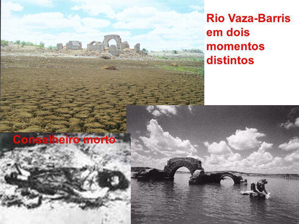 Rio Vaza-Barris em dois momentos distintos