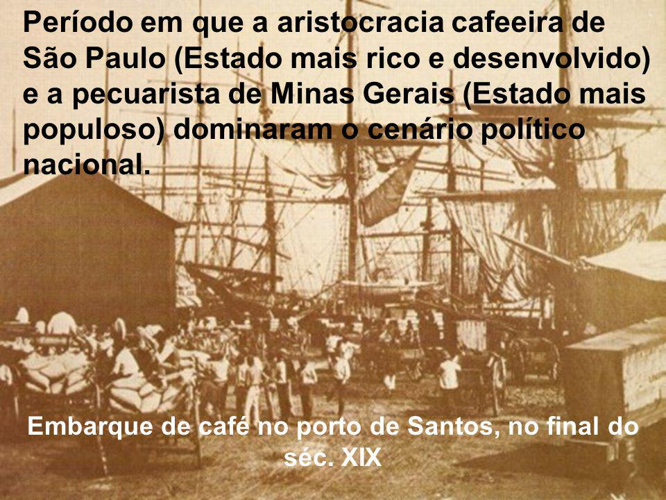 Embarque de café no porto de Santos, no final do séc. XIX