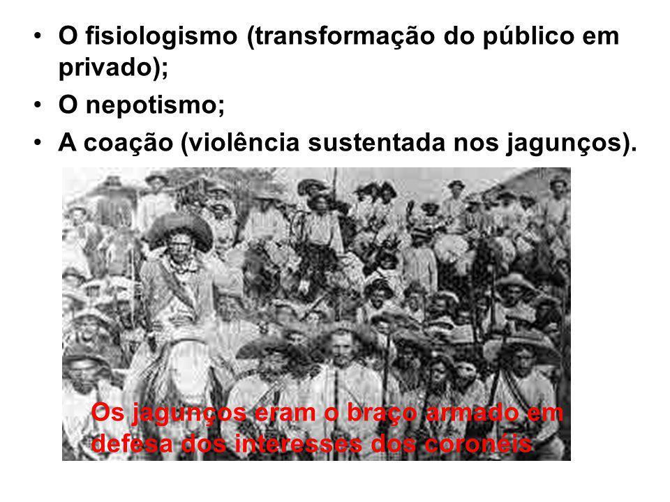 O fisiologismo (transformação do público em privado);