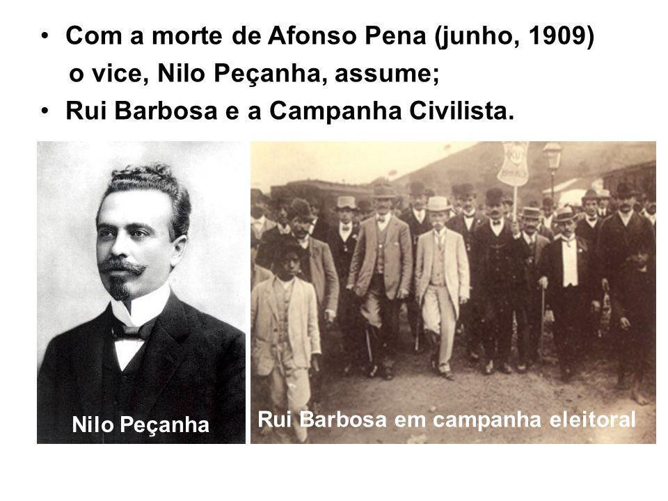 Com a morte de Afonso Pena (junho, 1909) o vice, Nilo Peçanha, assume;