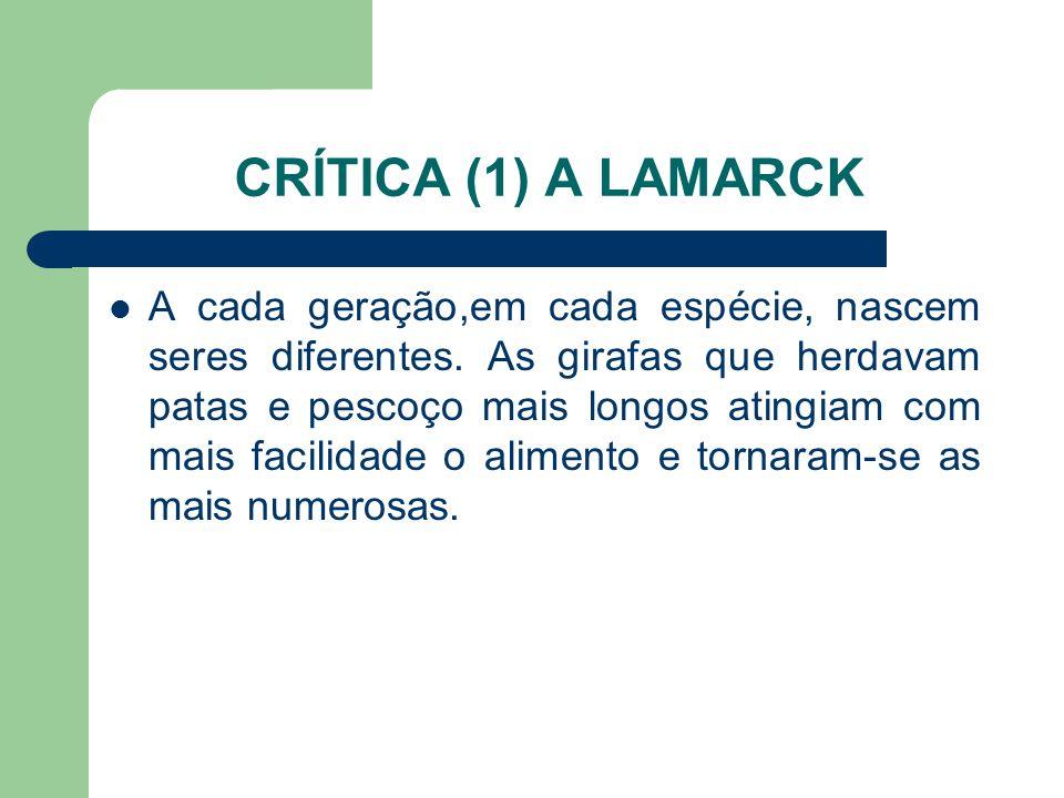 CRÍTICA (1) A LAMARCK