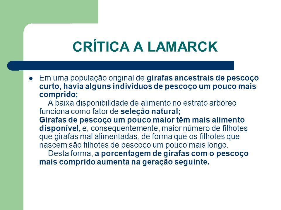CRÍTICA A LAMARCK