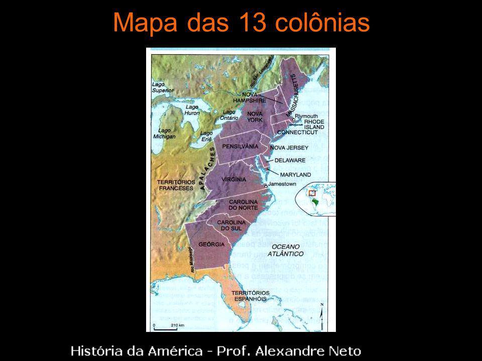 Mapa das 13 colônias