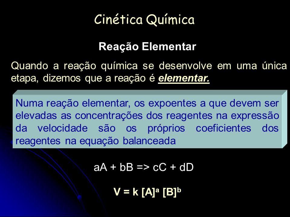 Cinética Química Reação Elementar aA + bB => cC + dD