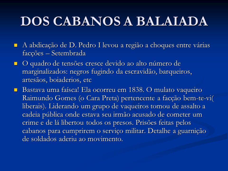 DOS CABANOS A BALAIADA A abdicação de D. Pedro I levou a região a choques entre várias facções – Setembrada.