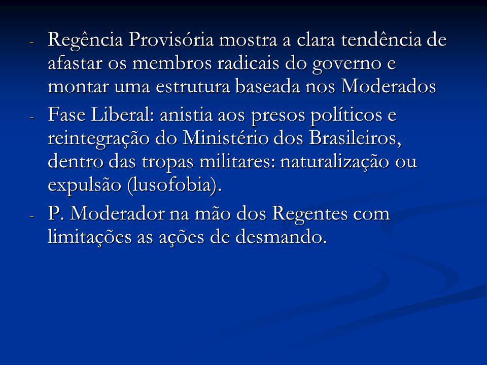 Regência Provisória mostra a clara tendência de afastar os membros radicais do governo e montar uma estrutura baseada nos Moderados