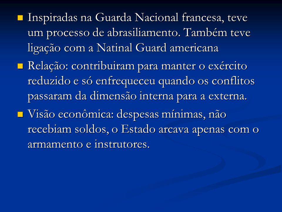 Inspiradas na Guarda Nacional francesa, teve um processo de abrasiliamento. Também teve ligação com a Natinal Guard americana