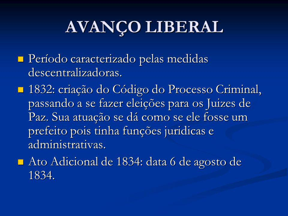 AVANÇO LIBERAL Período caracterizado pelas medidas descentralizadoras.