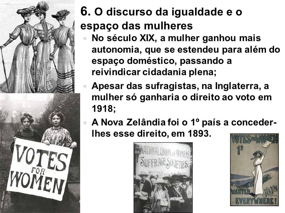 6. O discurso da igualdade e o espaço das mulheres