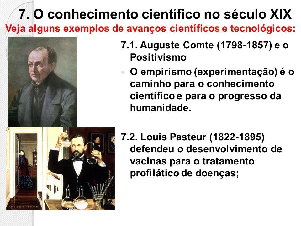 7. O conhecimento científico no século XIX