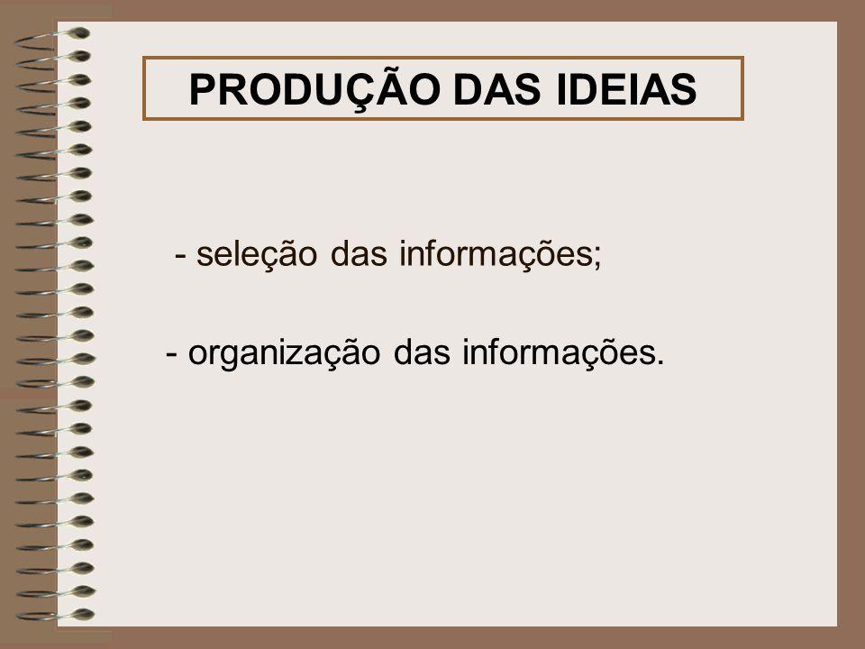 PRODUÇÃO DAS IDEIAS - seleção das informações;