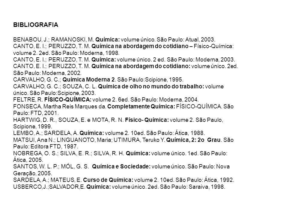 BIBLIOGRAFIA BENABOU, J.; RAMANOSKI, M. Química: volume único. São Paulo: Atual, 2003.
