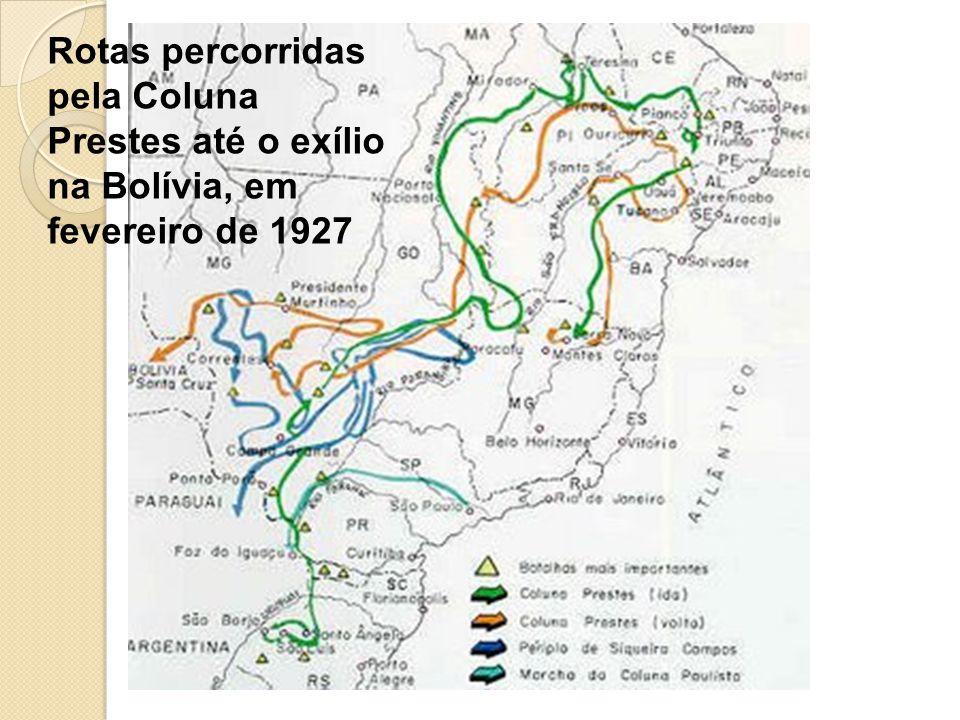 Rotas percorridas pela Coluna Prestes até o exílio na Bolívia, em fevereiro de 1927