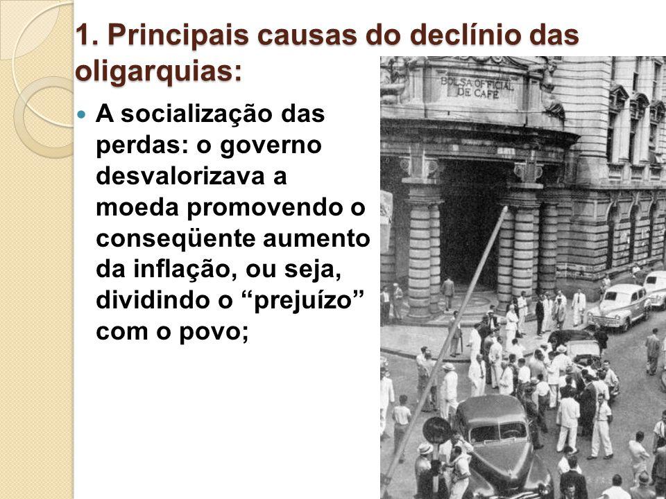 1. Principais causas do declínio das oligarquias: