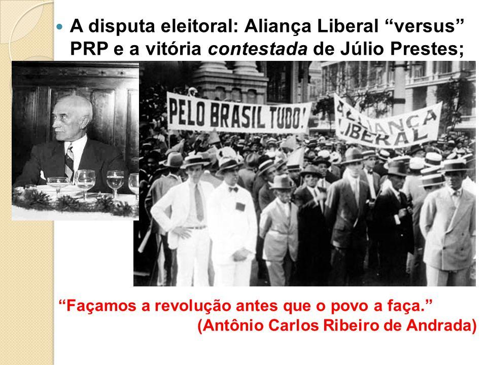 A disputa eleitoral: Aliança Liberal versus PRP e a vitória contestada de Júlio Prestes;