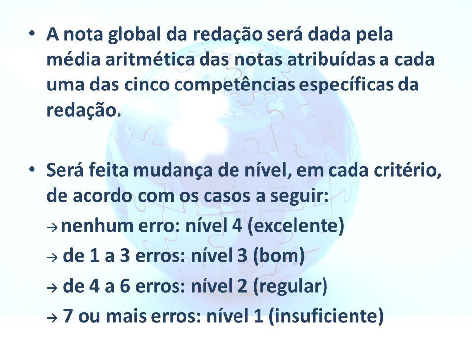 A nota global da redação será dada pela média aritmética das notas atribuídas a cada uma das cinco competências específicas da redação.