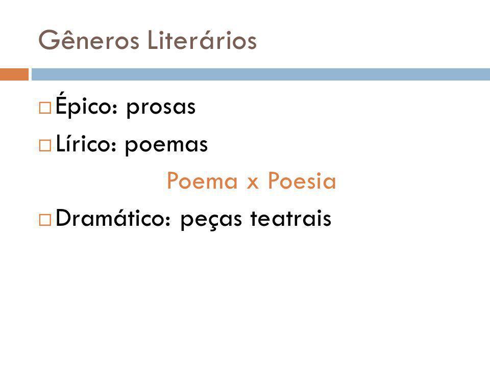 Gêneros Literários Épico: prosas Lírico: poemas Poema x Poesia
