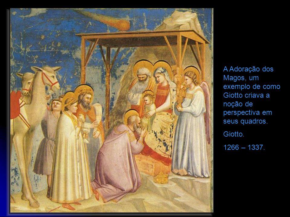 A Adoração dos Magos, um exemplo de como Giotto criava a noção de perspectiva em seus quadros.