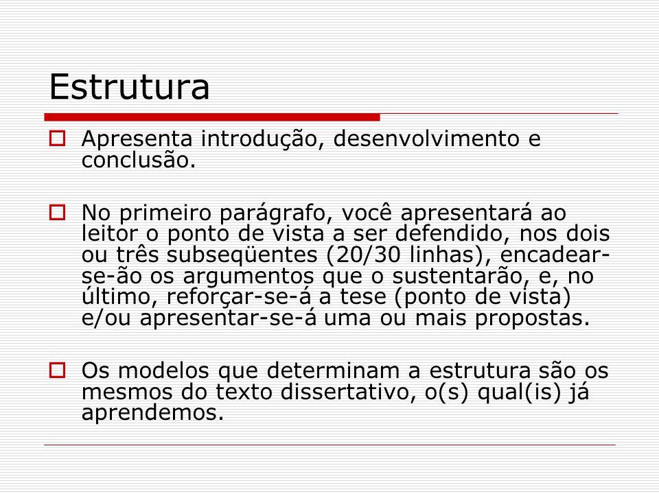 Estrutura Apresenta introdução, desenvolvimento e conclusão.