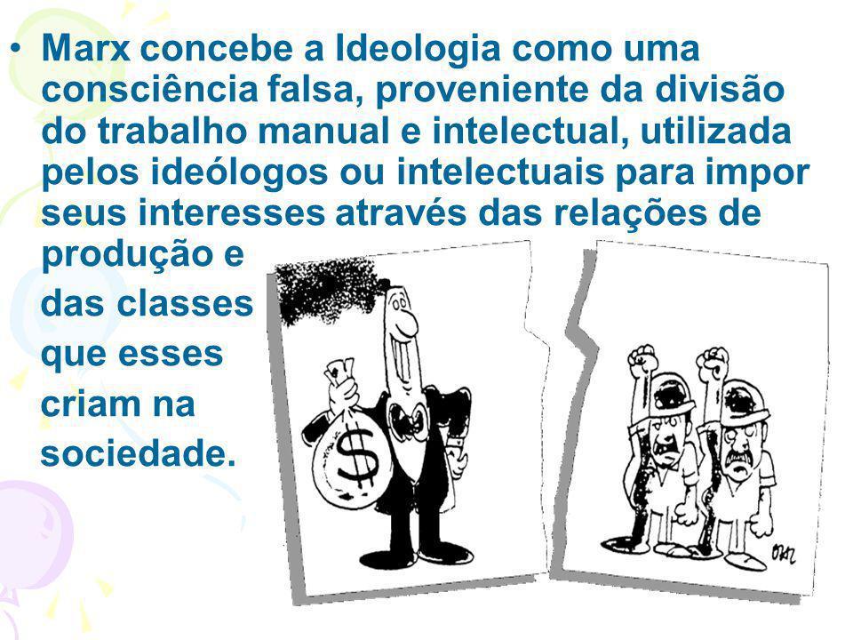 Marx concebe a Ideologia como uma consciência falsa, proveniente da divisão do trabalho manual e intelectual, utilizada pelos ideólogos ou intelectuais para impor seus interesses através das relações de produção e