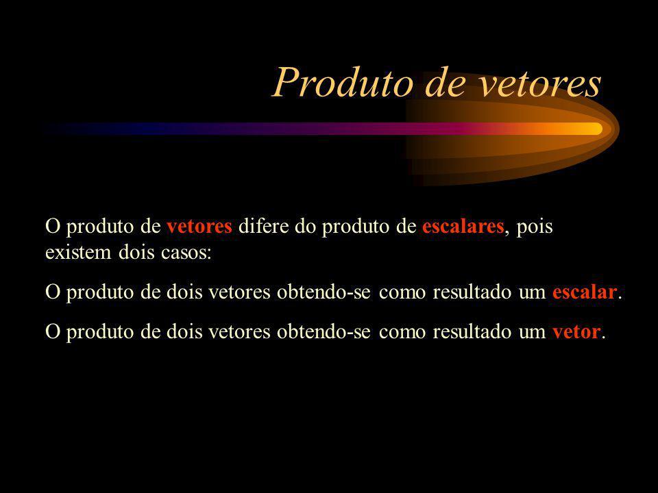 Produto de vetores O produto de vetores difere do produto de escalares, pois existem dois casos: