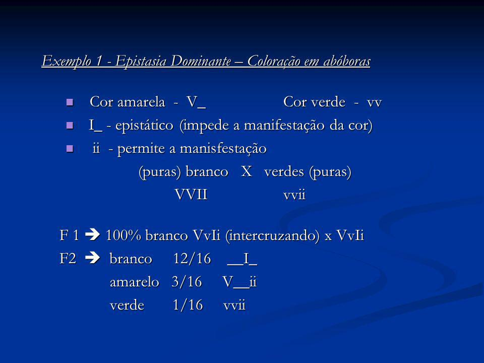 Exemplo 1 - Epistasia Dominante – Coloração em abóboras