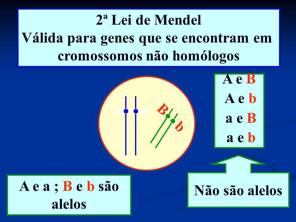 Válida para genes que se encontram em cromossomos não homólogos