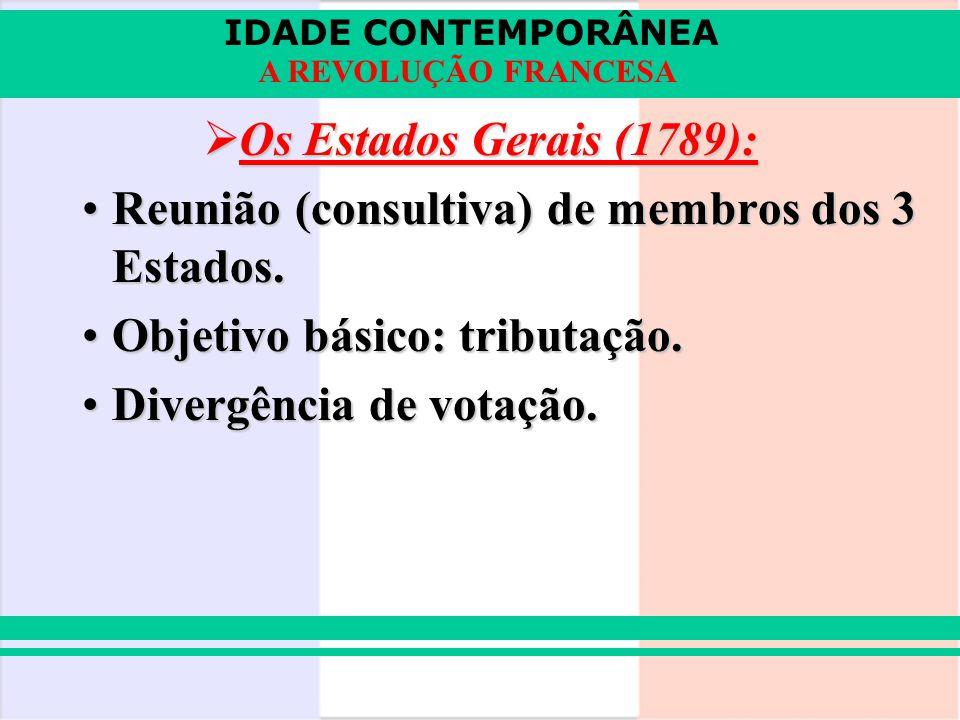 Os Estados Gerais (1789): Reunião (consultiva) de membros dos 3 Estados. Objetivo básico: tributação.