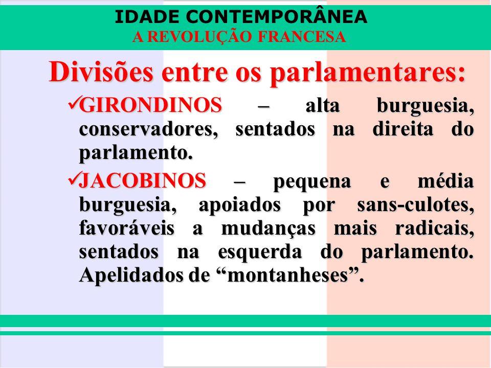 Divisões entre os parlamentares: