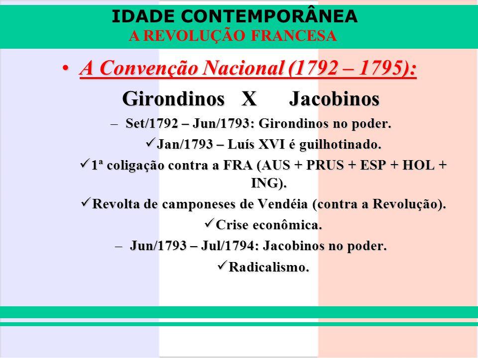 A Convenção Nacional (1792 – 1795): Girondinos X Jacobinos