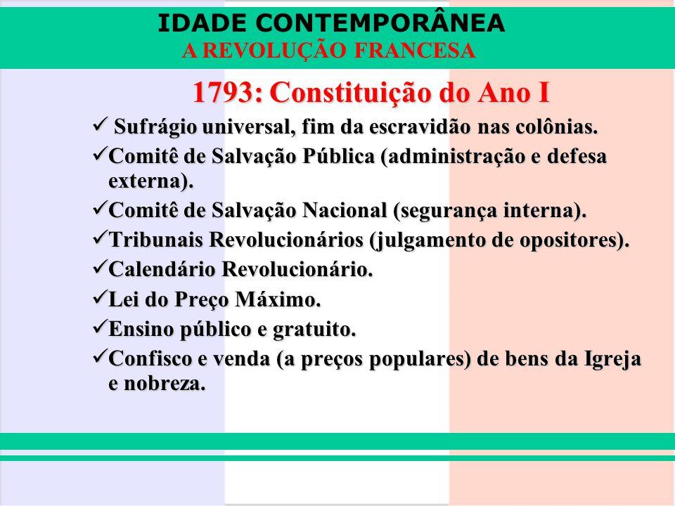 1793: Constituição do Ano I Sufrágio universal, fim da escravidão nas colônias. Comitê de Salvação Pública (administração e defesa externa).