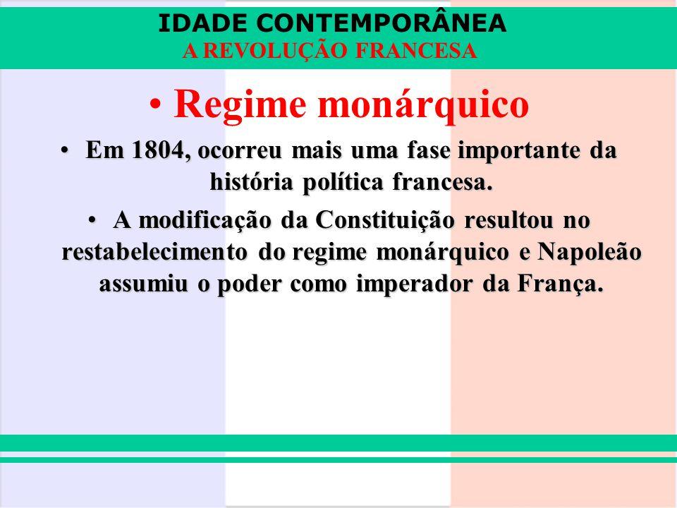 Regime monárquico Em 1804, ocorreu mais uma fase importante da história política francesa.