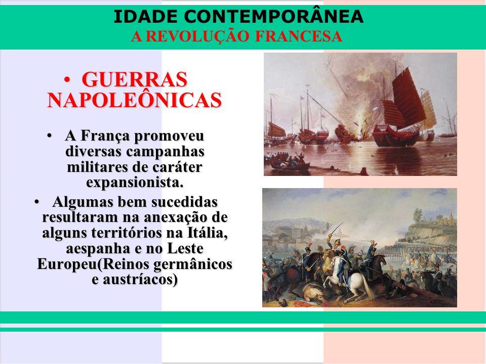 GUERRAS NAPOLEÔNICAS A França promoveu diversas campanhas militares de caráter expansionista.