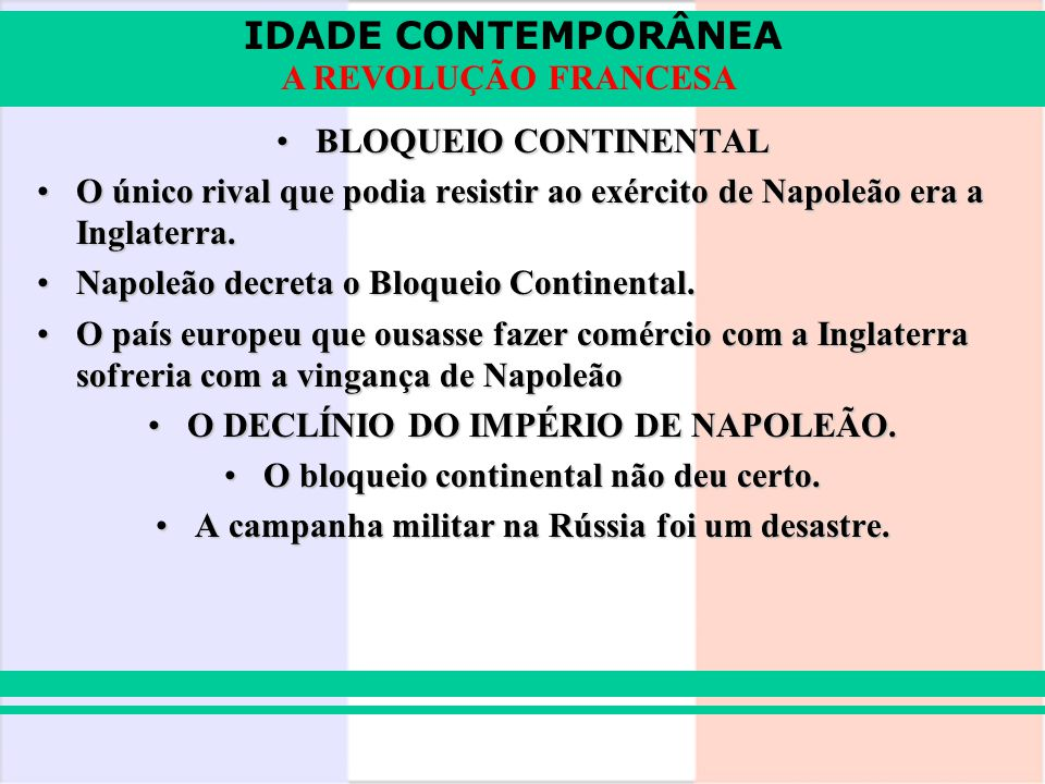 Napoleão decreta o Bloqueio Continental.