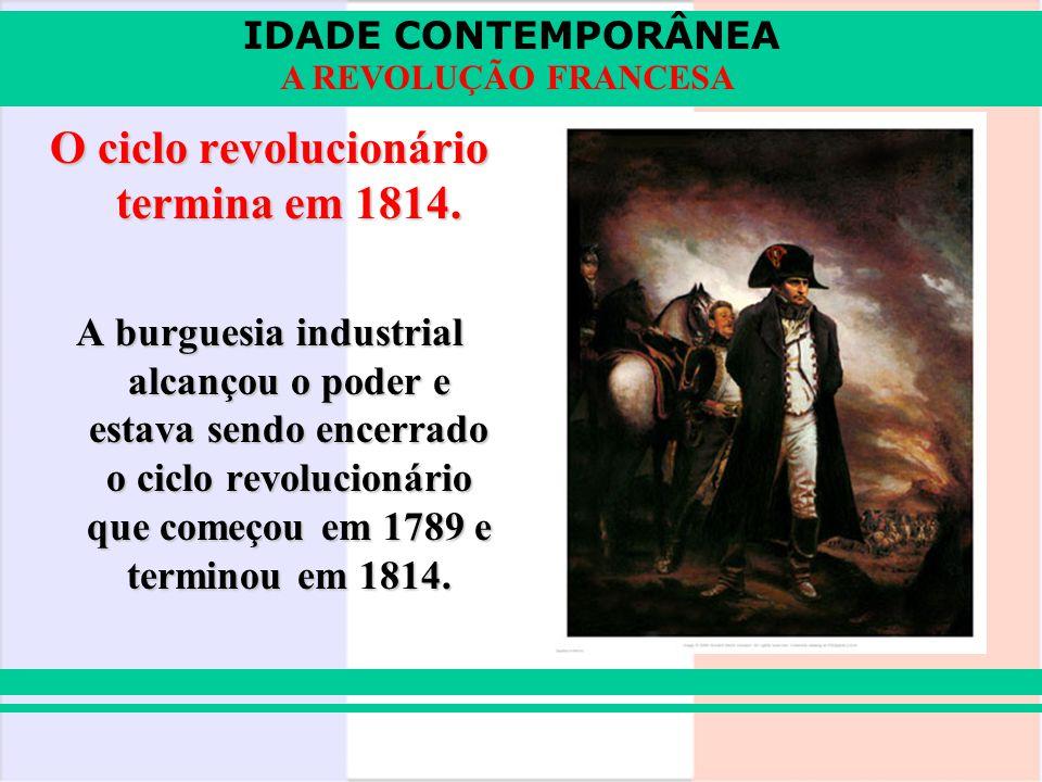 O ciclo revolucionário termina em 1814.