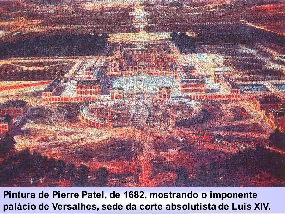 Pintura de Pierre Patel, de 1682, mostrando o imponente palácio de Versalhes, sede da corte absolutista de Luís XIV.