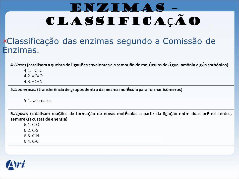 ENZIMAS – CLASSIFICAÇÃO
